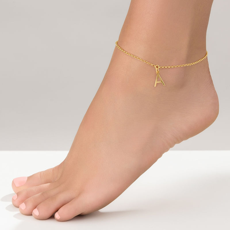 Ankle Bracelet with Initial in Gold Plating - 1