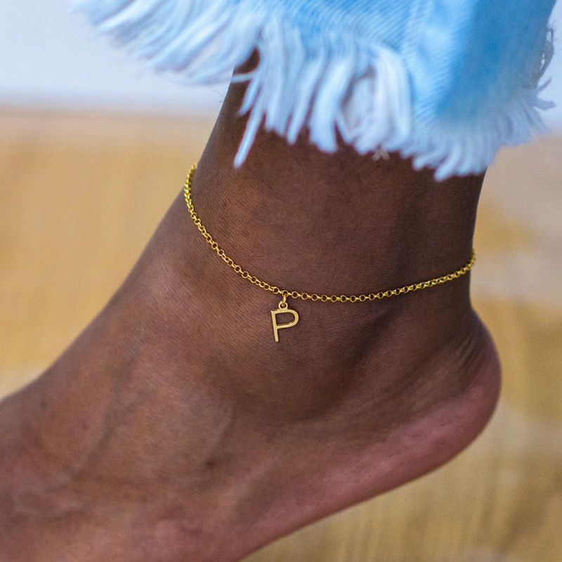 Ankle Bracelet With Initial In Gold Plating Mynamenecklace
