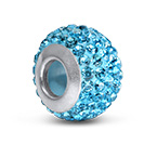 Aquamarine Birthstone Bead with Cubic Zirconia
