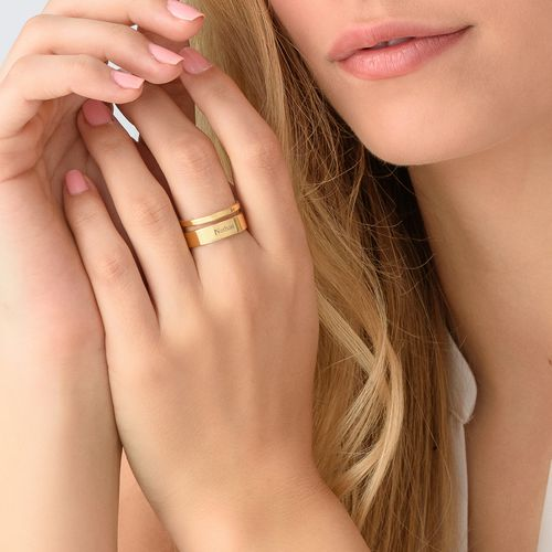 Asymmetrical Name Ring with Gold Plating - 3