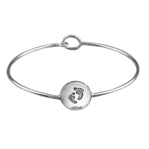 Baby Feet Bangle Bracelet with Engraving