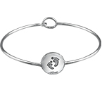 Baby Feet Bangle Bracelet with Engraving
