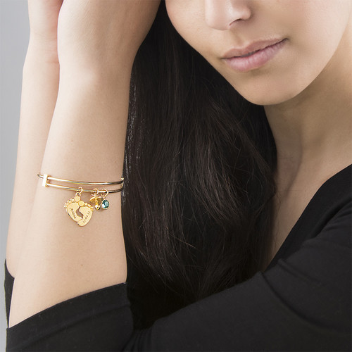 Baby Feet Bangle Bracelet with Gold Plating - 2