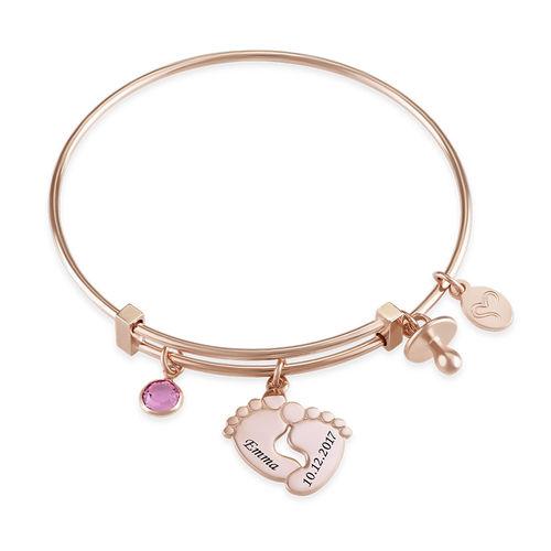 Baby Feet Bangle Bracelet with Rose Gold Plating