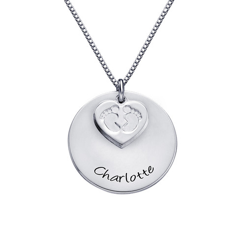 Baby Feet Disc Necklace