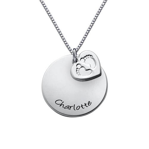 Baby Feet Disc Necklace - 1