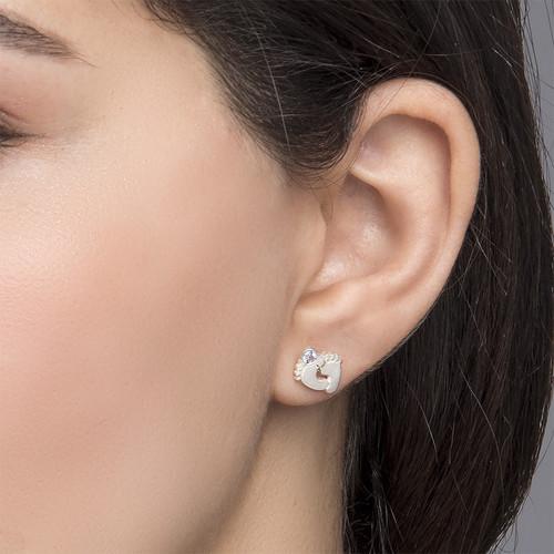Baby Feet Jewelry - Stud Earrings with Birthstones - 2