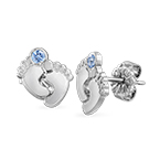 Baby Feet Jewelry - Stud Earrings with Birthstones