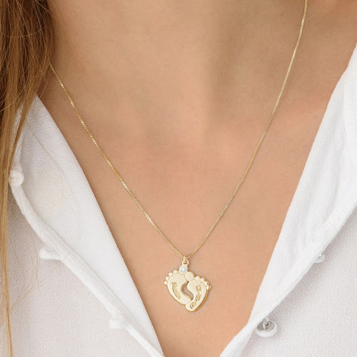 Baby Feet Necklace Gold Plated with Diamond - 2