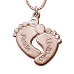 Baby Feet Necklace Rose Gold Plated with Diamond
