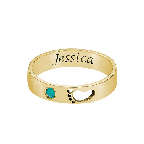Baby Feet Ring with Inner Engraving in Gold Plated - 1