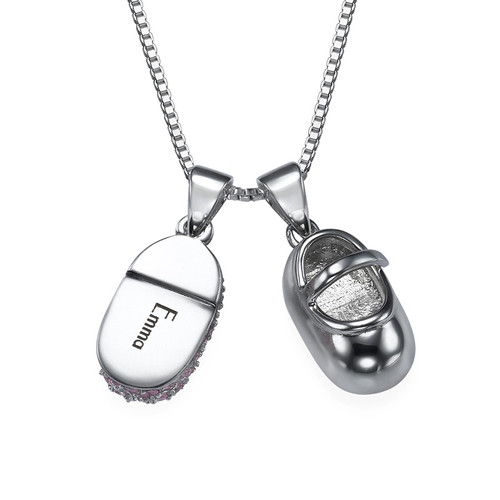 Super Baby Shoe Charm Necklace with Engraving | MyNameNecklace GQ63