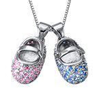 Baby Shoe Charm Necklace with Engraving