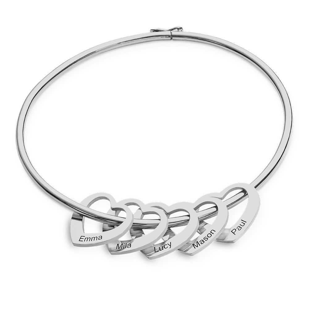 Bangle Bracelet with Heart Shape Pendants in Silver