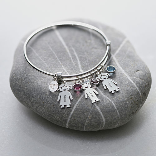 Bangle Bracelet with Kids Charms - 3