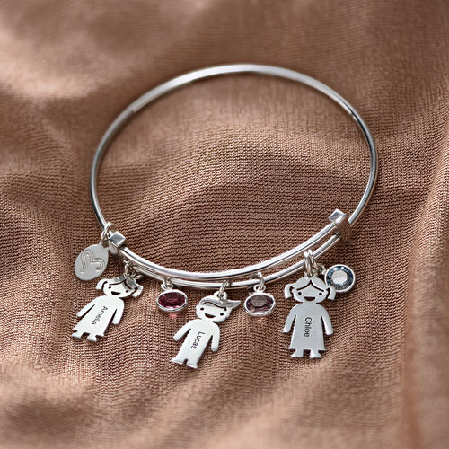 Bangle Bracelet with Kids Charms - 4