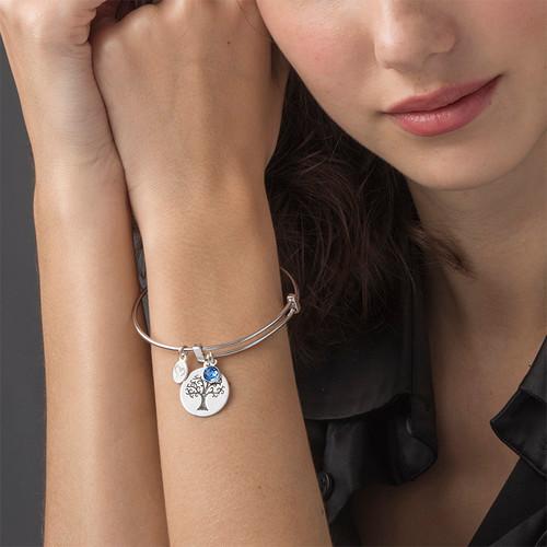 Bangle Bracelet with a Family Tree Charm - 3