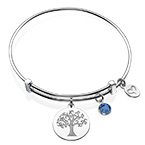 Bangle Bracelet with a Family Tree Charm