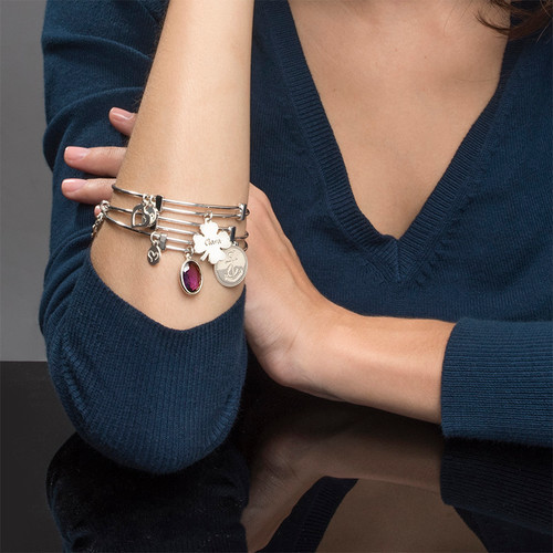 Bangle Charm Bracelet with Clover - 2
