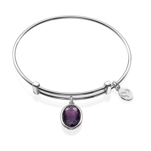 Bangle Charm Bracelet with Personalized Stone