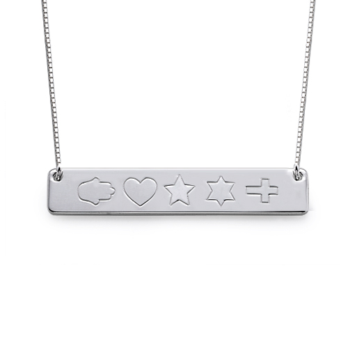 Bar Necklace in Silver with Icons - 1
