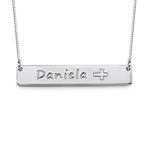 Bar Necklace in Silver with Icons