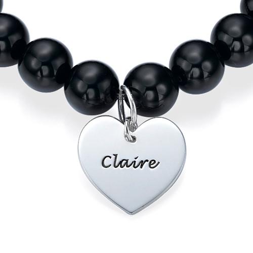 Bead Bracelet with Heart Pendant - 1