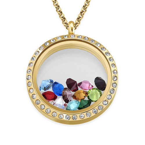Birthstone Charms Floating Locket with Gold Plating