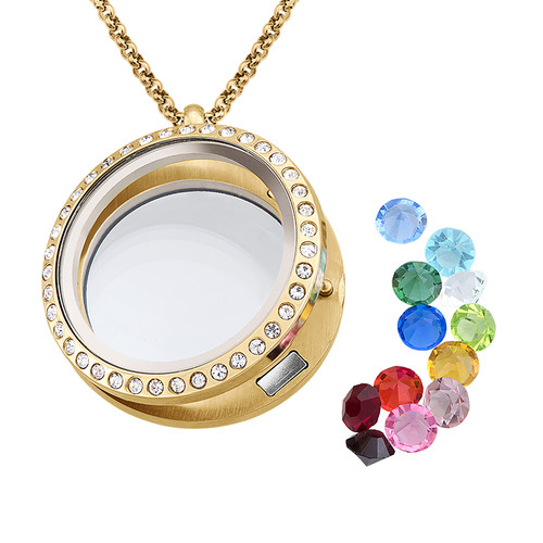 Birthstone Charms Floating Locket with Gold Plating - 1