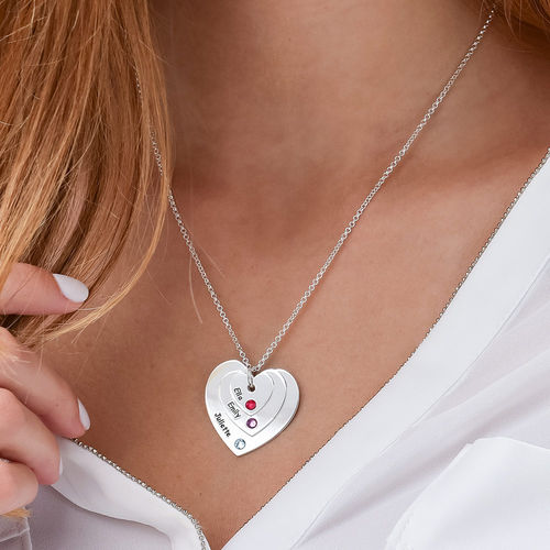 Birthstone Heart Necklace for Moms - 3
