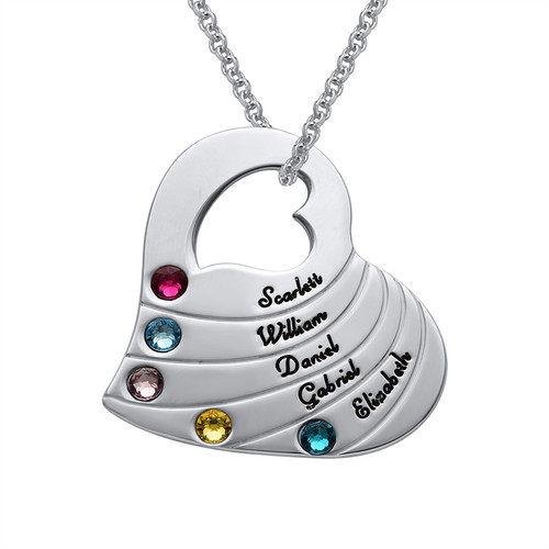 Birthstone Heart Necklace for Mothers with Engraving
