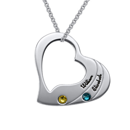 Birthstone Heart Necklace for Mothers with Engraving - 1