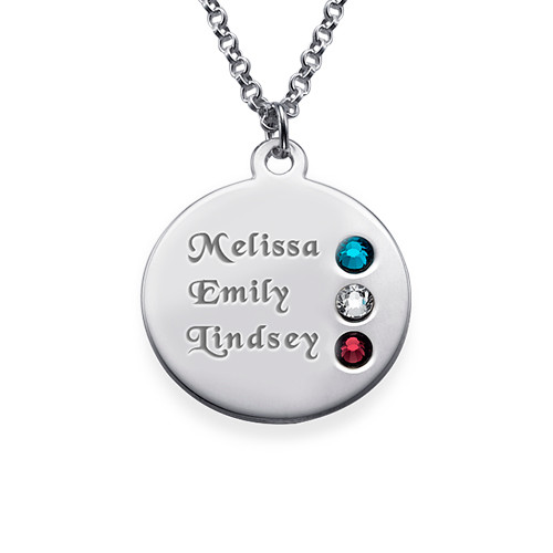 Birthstone Necklace for Mom in Silver