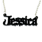 Black Angel Style Color Name Necklace