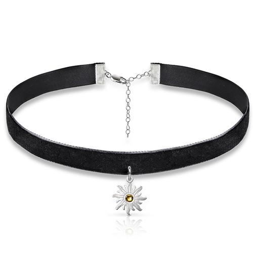 Black Choker Necklace with Birthstone Sun Charm