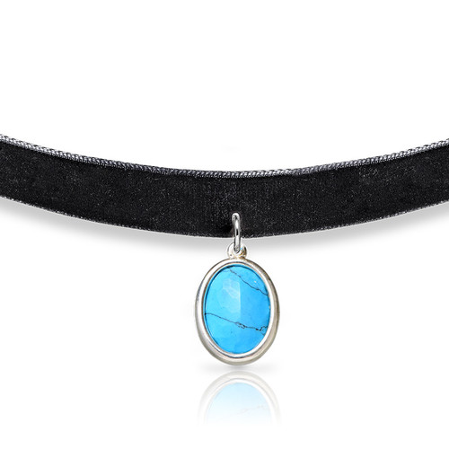 Black Velvet Choker with Personalized Stone - 1