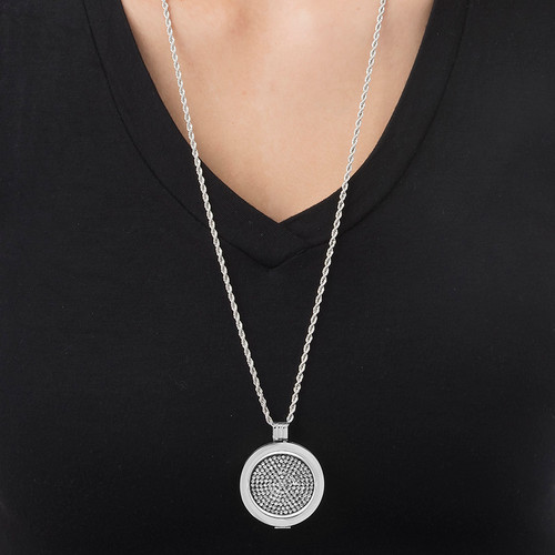 Black and Clear Crystal Coin in Silver - 1