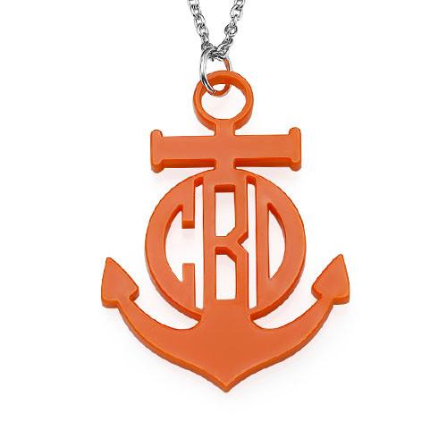 Acrylic Anchor Block Monogram Necklace
