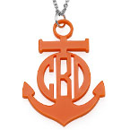 Acrylic Anchor Block Monogram Necklace