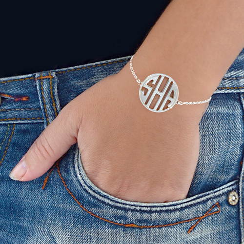 Block Letter Monogram Bracelet in Silver - 1