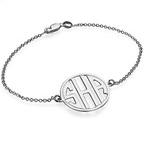 Block Letter Monogram Bracelet in Silver
