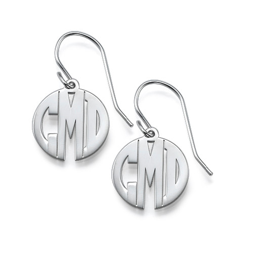 earrings monogram il listing silver monogrammed cier sterling