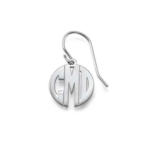 Block Monogram Earrings in Silver - 1