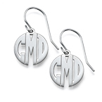 Block Monogram Earrings in Silver