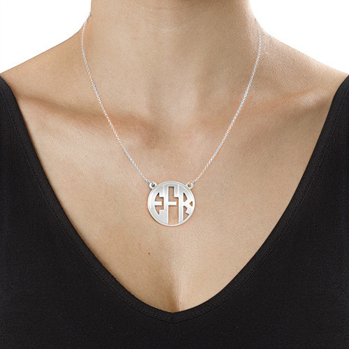 Block Monogram Necklace in Sterling Silver - 1