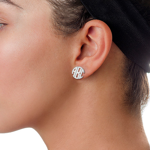 Block Monogram Stud Earrings 1