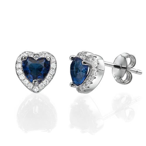 Blue Cubic Zirconia Heart Stud Earrings