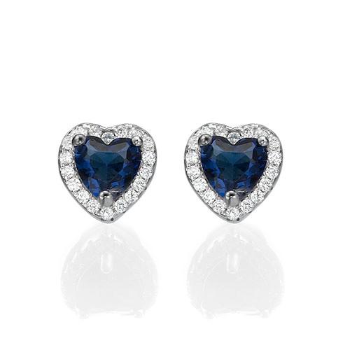 Blue Cubic Zirconia Heart Stud Earrings - 1