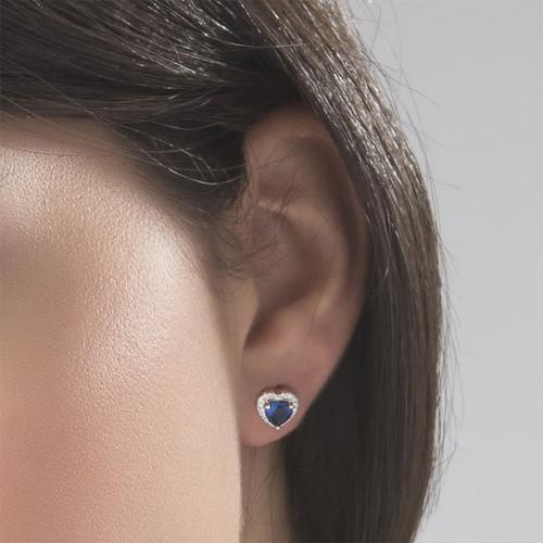 Blue Cubic Zirconia Heart Stud Earrings - 2