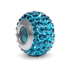 Blue Topaz Birthstone Bead with Cubic Zirconia